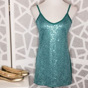 VANITY Sequin Tank Top   Teal   Size Large
